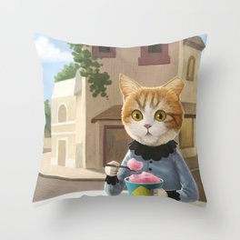 Yummy ice cream and a Cat Throw Pillow