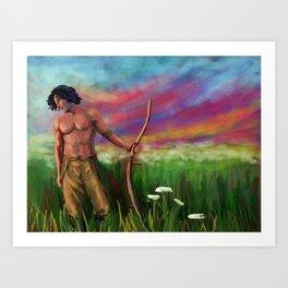 Poldark cutting grass Art Print