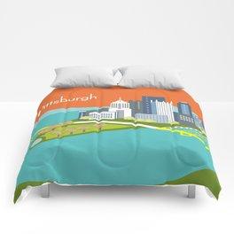 Pittsburgh, Pennsylvania - Skyline Illustration by Loose Petals Comforters