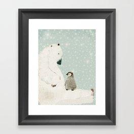 penguin and bear Framed Art Print