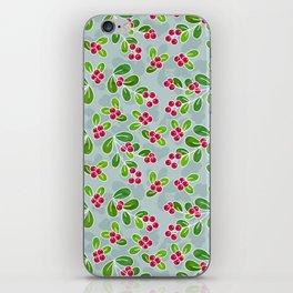 Cranberry Fruit Pattern on Blue-Grey iPhone Skin