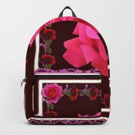 FUCHSIA PINK ROSE & BURGUNDY FLORAL PATTERNED ART Backpack