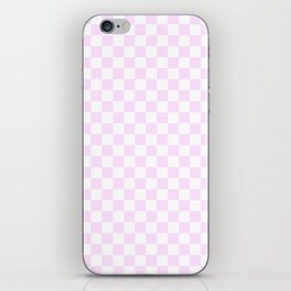 Small Checkered - White and Pastel Violet iPhone Skin