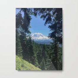 peek-a-boo Mount Rainier Metal Print