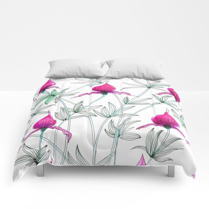 small purple flowers Comforters