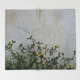 Minimal flora - yellow daisies wild flowers Throw Blanket