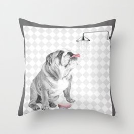 Bulldog taking a shower Throw Pillow