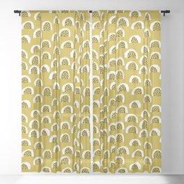 Sunny Melon love abstract brush paint strokes yellow ochre Sheer Curtain