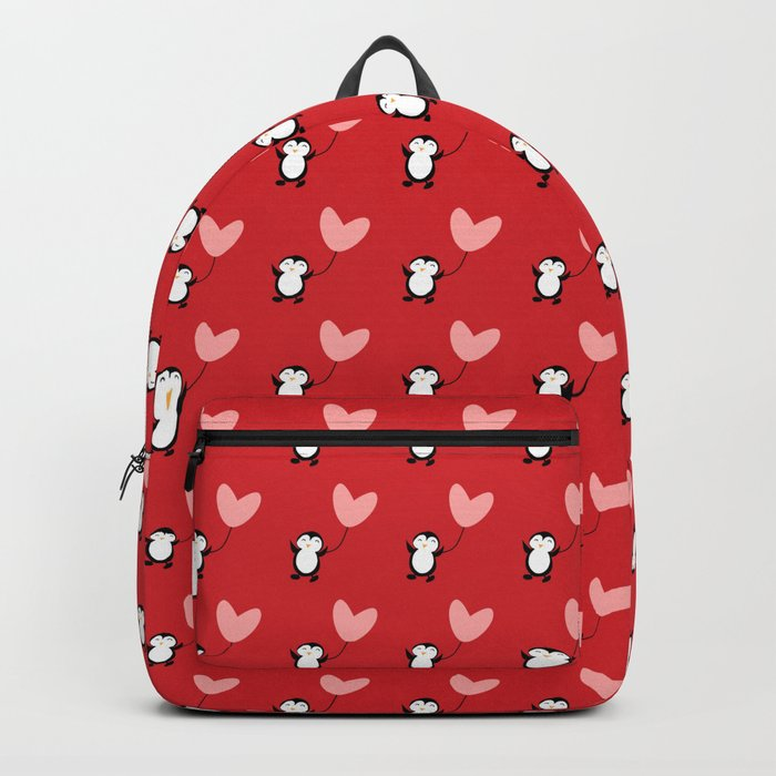 Penguin in love red Backpack