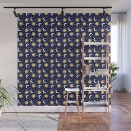 Greek Inspired Suns and Moons with Stars Wall Mural