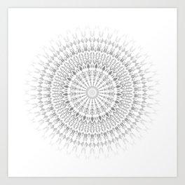 Gray White Mandala Art Print