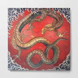 Dragon by Hokusai Metal Print