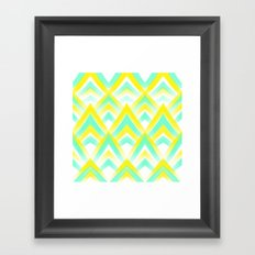 Modern summer lemon mint acrylic chevron scallop geometric pattern Framed Art Print
