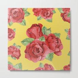 Colorful Vintage Watercolor Red Rose Metal Print