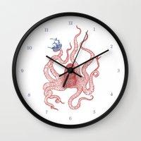 kraken Wall Clocks featuring Kraken by Andrew Henry