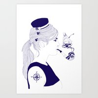 nautical Art Prints featuring Nautical by Nathalie Otter
