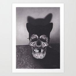 Original Charcoal Drawing of Skull Wearing a Cat Mask Art Print