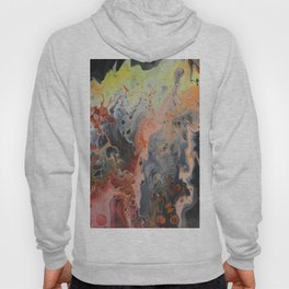 strange visions 20, acrylic abstract painting, black, red, yellow, orange Hoody