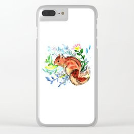 Cute Korea squirrel in sping flowers Clear iPhone Case