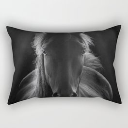 No One To Run With - Beautiful Horse Portrait black and white photograph - photography - photographs Rectangular Pillow