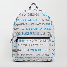 Blue Web Design Keywords Poster Backpack