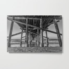 Morning under Newport Pier in Black and White Metal Print
