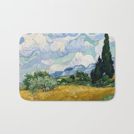 Wheat Field with Cypresses Bath Mat