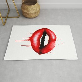 Red Lips Decor Watercolor Print Kiss Love Sexy Girl Fashion Poster Lipstick Chic Makeup Art Rug