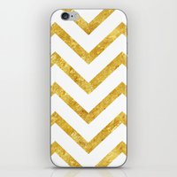gold foil iPhone & iPod Skins featuring Gold Foil Chevron by NeoQlassical