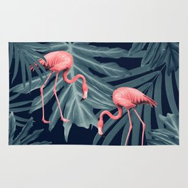 Summer Flamingo Jungle Night Vibes #1 #tropical #decor #art #society6 Rug