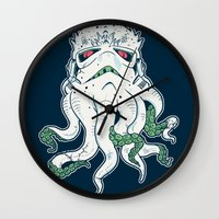 lovecraft Wall Clocks featuring Stormthulhu by Hillary White