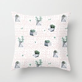 Potted Succulents Pink Polka Dots Throw Pillow