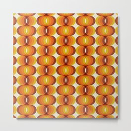 Orange, Brown, and Ivory Retro 1960s Wavy Pattern Metal Print