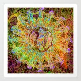 cosmic dance of krishna and his maidens Art Print