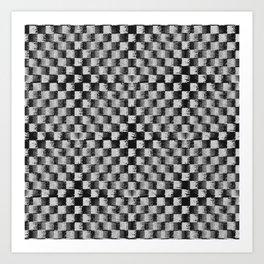 Edgy Checker (in shades of grey) Art Print