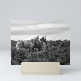 Palomino Buttes Herd - Wild Horses BW Mini Art Print