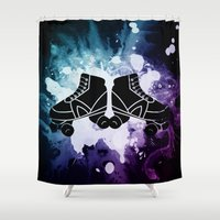 roller derby Shower Curtains featuring Roller Derby Galaxy Skates by Mean Streak