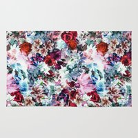 floral pattern Area & Throw Rugs featuring Floral Pattern by Eduardo Doreni