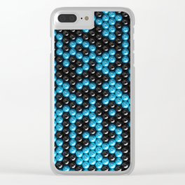 Pattern of black and blue spheres Clear iPhone Case