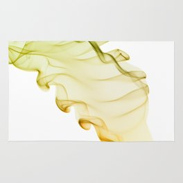 Yellow green twisted smoke abstracts Rug