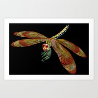 dragonfly Art Prints featuring Dragonfly by Tim Jeffs Art