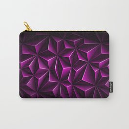 Volumetric polygonal dark magenta pattern Carry-All Pouch