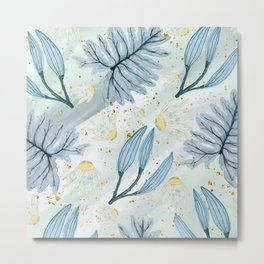 Blue Pastel Leaves Metal Print