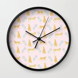 pink leopards print Wall Clock