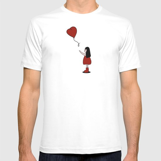 Girl with a Heart-Shaped Balloon T-shirt