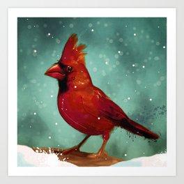 Cardinal snow Art Print