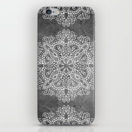 Mandala Vintage White on Ocean Fog Gray iPhone Skin