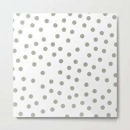 Simply Dots in Retro Gray on White Metal Print