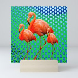 VIBRANT SAFFRON FLAMINGOS GREEN-BLUE ABSTRACT Mini Art Print
