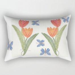 Tulipes et papillon en dentelle Rectangular Pillow